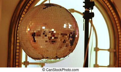 Disco ball on banquet - Rotating light equipment at festive...