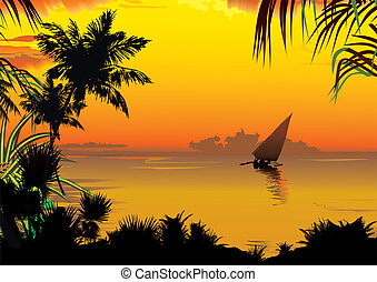 Sunset. - Silhouettes of palms on a ocean background. Vector...