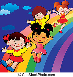 Children on rainbow slide.