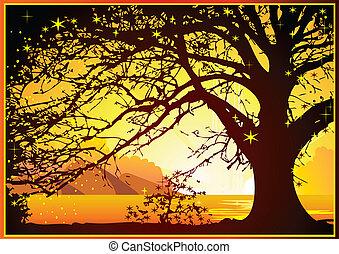 Sunrise on the ocean. - Magical sunrise on the ocean. Vector...