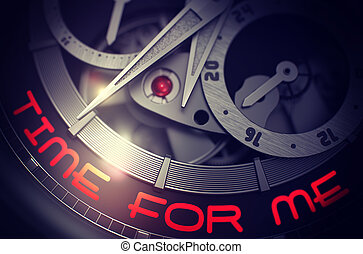 Time For Me on the Luxury Men Wristwatch Mechanism. 3D. -...