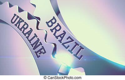 Brazil Ukraine - Message on Mechanism of Metallic Gears. 3D....