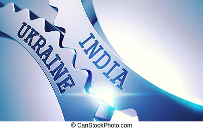 India Ukraine - Text on the Mechanism of Metallic Gears. 3D....