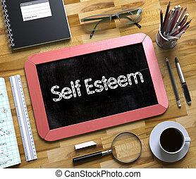 Self Esteem on Small Chalkboard. 3D. - Self Esteem Concept...