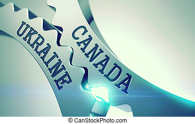 Canada Ukraine - Message on Mechanism of Metallic Gears. 3D....