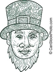 Leprechaun Head Front Mandala - Mandala style illustration...