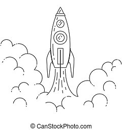 Rocket takes off Concept for new business project start-up -...