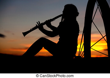 tocando, música, pôr do sol