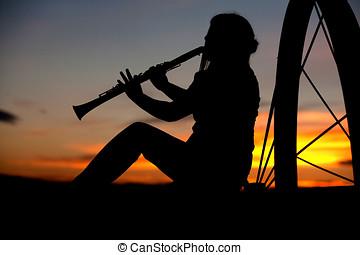 juego, Música, ocaso