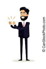 Businessman Clapping Hands with Happy Face - Business man...