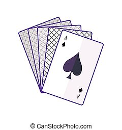 Playing Cards Vector Illustration In Flat Design.