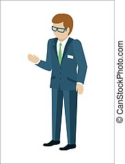 Man Character Vector In Isometric Projection. - Man...