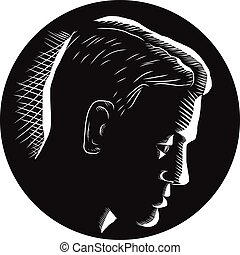 Pensive Man in Deep Thought Circle Woodcut - Illustratoin of...
