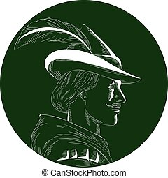 Robin Hood Side Profile Circle Woodcut