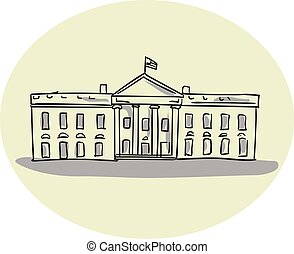 White House Building Oval Drawing - Drawing sketch style...