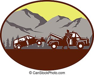 Car being towed Away Mountains Oval Woodcut - Illustration...