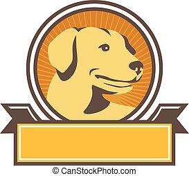 Yellow Labrador Golden Retriever Head Circle Retro -...