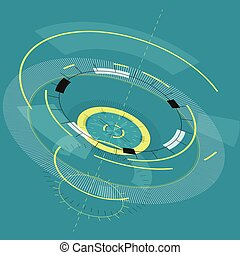 Abstract round high-tech mandala with circles. Space...