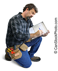 kneeling man with clipboard - Kneeling man isolated writing...