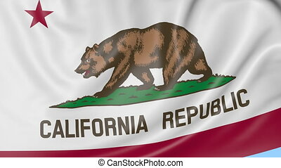 Waving flag of California state against blue sky. Seamless loop 4K clip