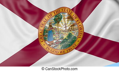 Waving flag of Florida state against blue sky. Seamless loop...