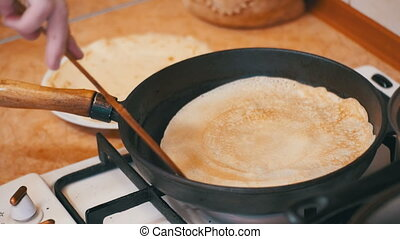 Making of the Dough Pancakes, Flat Cakes on the Hot Frying...