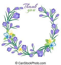 greeting card with crocuses5-01 - Thank You.Vector...