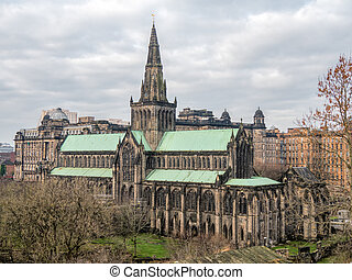 Exterior of Glasgow Cathedral - View on the exterior of...