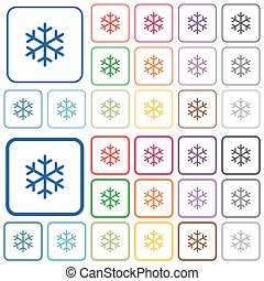 Single snowflake outlined flat color icons