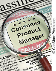 Consumer Product Manager Job Vacancy. 3D.