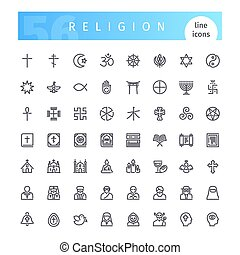 Religion Line Icons Set - Set of 56 religion line icons...