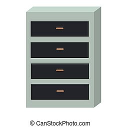 Chest of Drawers Isolated on White Background.