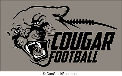 cougar football team design with mascot head for school,...