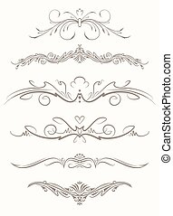 Set of six decorative vintage vector page elements, text dividers.