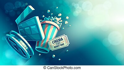 Online cinema art movie watching with popcorn and film-strip...