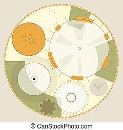 Abstract round sight-tech space weapons with circles. Ochre mechanical gears.
