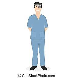 Doctor man ENT Hospital, flat design vector illustration