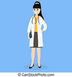 Doctor pediatrician in hospital, flat design vector...