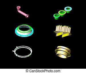 3D pressurel vessel parts - 3D design of pressurel vessel -...