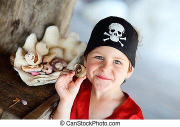 Portrait of playful pirate boy - Portrait of playful boy...