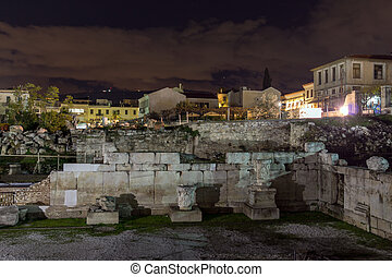 Night photo of Hadrian's Library in Athens, Attica, Greece