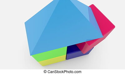 Toy cubes with roof stacked on white