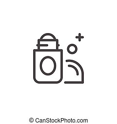 Roll on deodorant line icon isolated on white. Vector...
