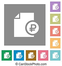 Ruble financial report square flat icons - Ruble financial...