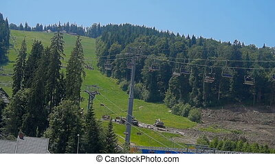 Carpathians chair lift - chair lift in the mountains of the...