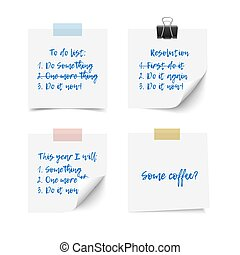 White realistic vector sticky notes