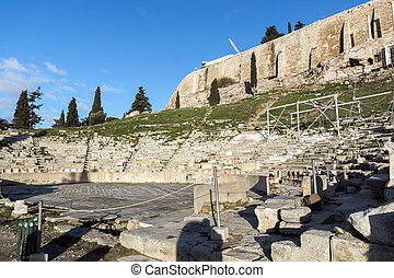 Ruins of the Theatre of Dionysus in Acropolis of Athens,...