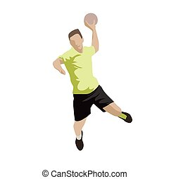 Shooting handball player, abstract flat design vector...
