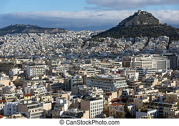 Amazing panorama from Acropolis to city of Athens, Attica,...