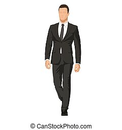 Business man in dark suit goes forward. Handsome model, abstract vector illustration. Leader, manager or lawyer